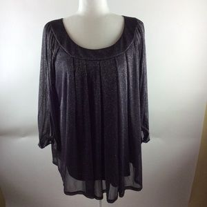 G Collection women's blouse 1x sparkle gray